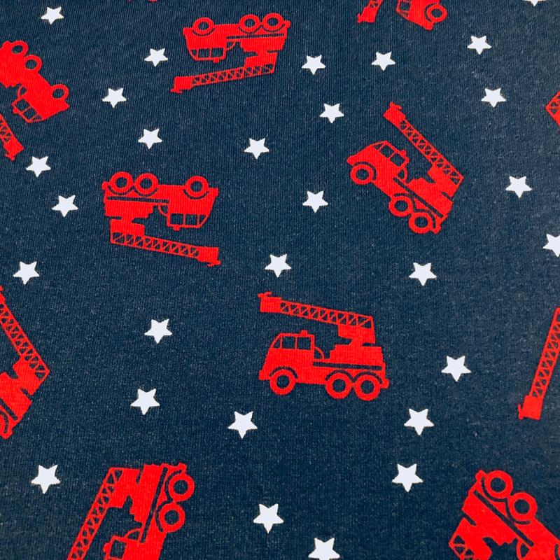 55403531f442 Jersey Stoffe - Kindermotive: Jersey Stoffe Feuerwehr Sterne dunkelblau