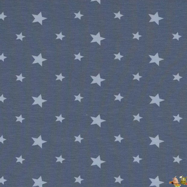 jersey stoffe sterne tupfen jersey stoff hellblaue sterne auf dunkelblau. Black Bedroom Furniture Sets. Home Design Ideas