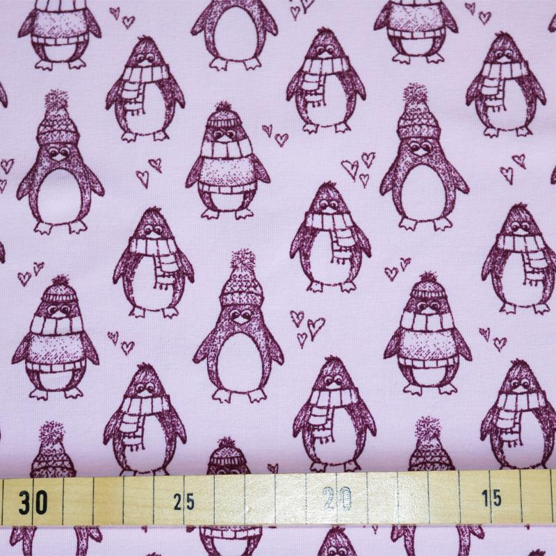 jersey stoffe kindermotive jersey stoffe pinguine rosa. Black Bedroom Furniture Sets. Home Design Ideas